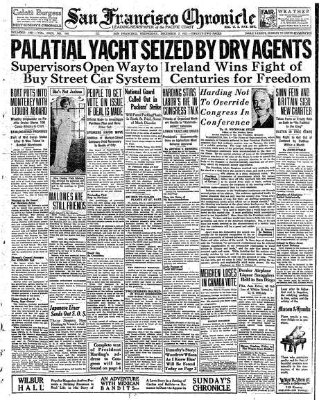The Chronicle's front page from Dec. 7, 1941, covers Ireland's independence and the seizure of a liquor-running boat in the bay. Photo: The Chronicle 1921