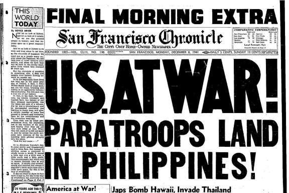 Historic Chronicle Front Page December 08, 1941  Late edition from Dec 8, 1941, following the Japanese attack on Pearl Harbor, Hawaii during World War II.  Chron365, Chroncover