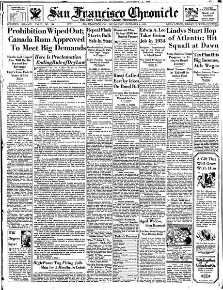 The Chronicle's front page from Dec. 6, 1933, covers the end of Prohibition. Photo: The Chronicle 1933