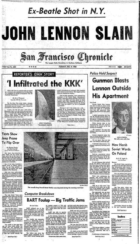 The Chronicle's front page from Dec. 9, 1980, covers the killing of John Lennon outside his New York City home. Photo: The Chronicle 1980