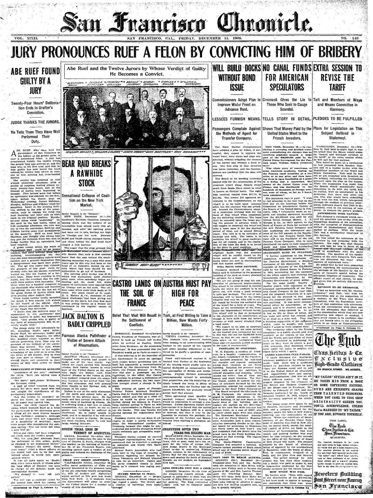 Historic Chronicle Front Page December 11, 1908 San Francisco power broker Abe Ruef convicted of bribery Chron365, Chroncover