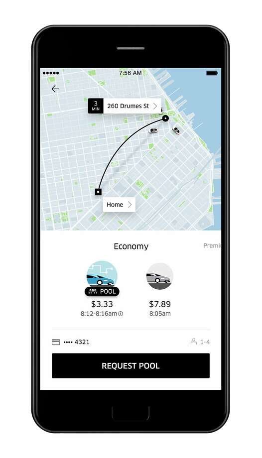 Uber redesigned its app to ask for passengers destinations first thing, and to show estimated price and arrival time even before they request a ride. Photo: Uber