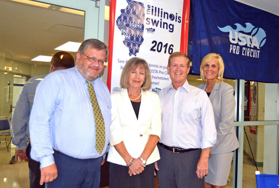 Representing District 7 at Friday's press conference at Lewis and Clark Community College for the USTA Illinois Swing tennis tournaments were, from left, assistant superintendent Dave Courtney, superintendent Dr. Lynda Andre, EGHM Foundation president Joe Gugger and assistant superintendent Dr. Nancy Spina.