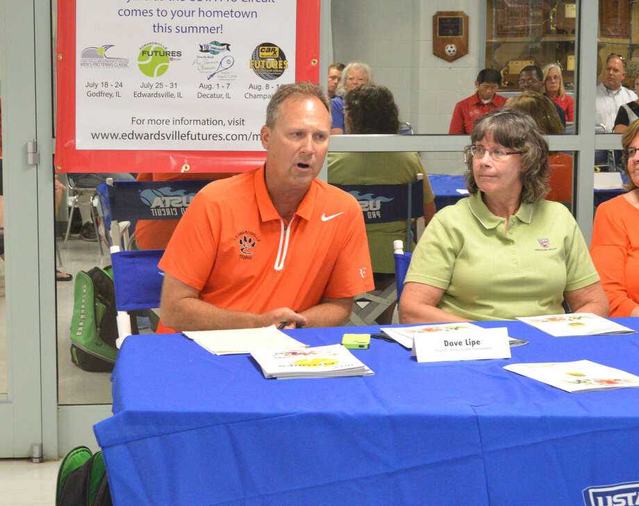 Dave Lipe, tournament director for the Edwardsville Futures on July 22-31, speaks at the press conference.