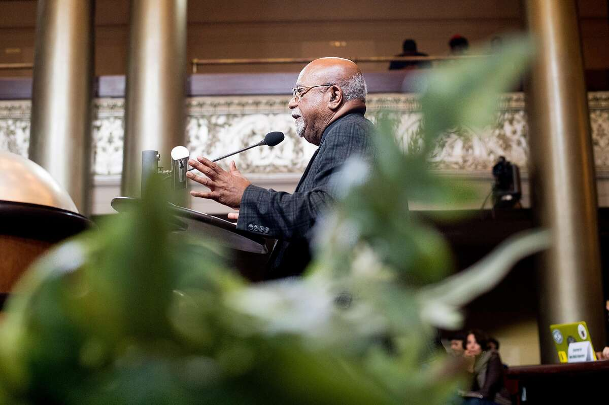 Paul Cobb discusses the formation of a Cannabis Regulatory Commission during public comments at an Oakland City Council meeting on Tuesday, Nov. 1, 2016, in Oakland, Calif. The council postponed discussion of a marijuana ordinance until its November 14 meeting.