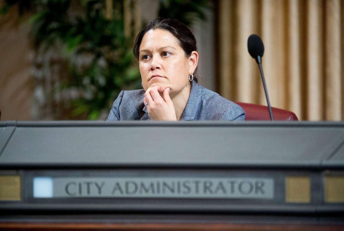 City Administrator Sabrina Landreth listens during an Oakland City Council meeting on Tuesday, Nov. 1, 2016, in Oakland, Calif.