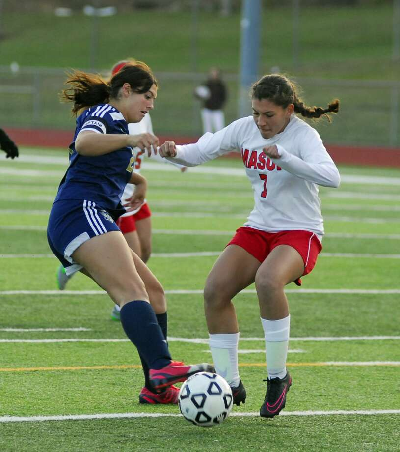 Action from the SWC girls soccer semifinal between Masuk and Notre Dame-Fairfield on Tuesday, November 1st, 2016. Photo: Ryan Lacey / Hearst Connecticut Media