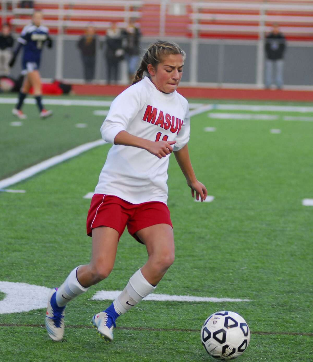 Masuk's Giavanna DeLorenzo controls the ball during a girls soccer SWC semifinal match against ND-Fairfield on Tuesday.