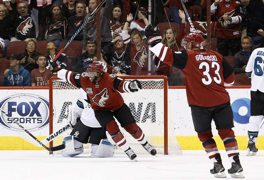 Arizona Coyotes left wing Anthony Duclair (10) and defenseman Alex Goligoski celebrate a goal by Jamie McGinn during the second period at Gila River Arena in Glendale, Ariz. Photo: Ross D. Franklin, Associated Press