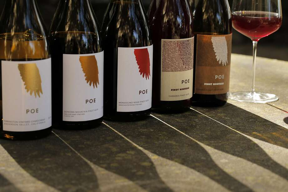 Poe Wines, including Chardonnay and several Pinot Nouveaus, made by Sam Sheehan, owner and winemaker at Farella Winery in Napa. Photo: Carlos Avila Gonzalez, The Chronicle
