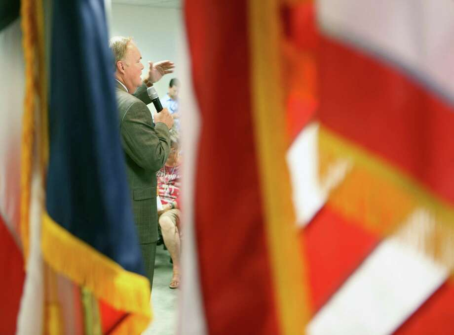 Railroad Commission candidate Wayne Christian speaks last month at the Bexar County Republican Party headquarters. His  fundraising keeps up a long tradition of the oil and gas industry injecting cash into the campaigns of those who would regulate it. Photo: William Luther, Staff / © 2016 San Antonio Express-News