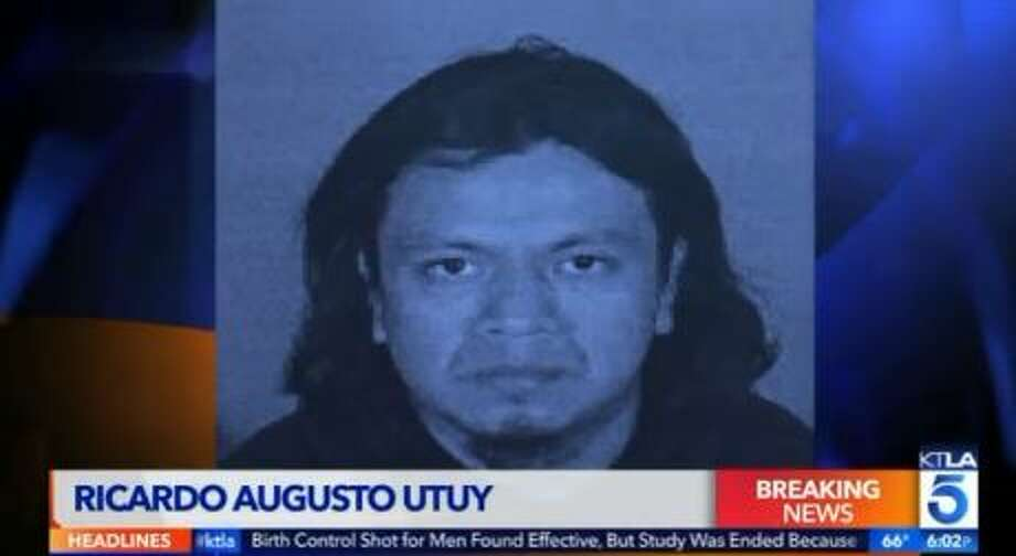 Ricardo Augusto Utuy, 34, was arrested on suspicion of fatally stabbing his co-worker's 3-year-old daughter at their workplace in Los Angeles. He was booked on a murder charge. Photo: KTLA Screengrab