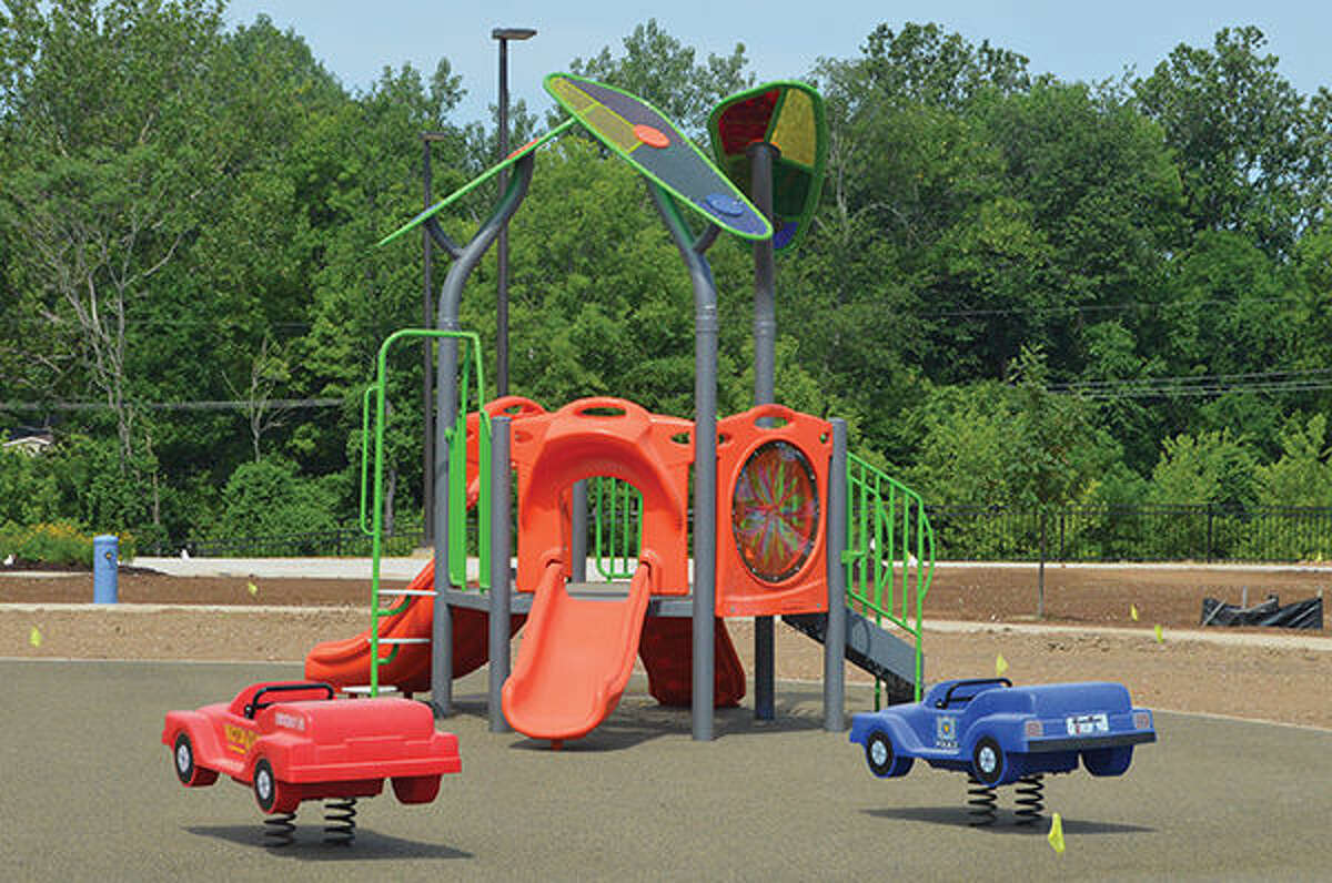 Pictured is the dry playground at Leon Corlew Park. In the coming weeks, the park is set to have an additional pavilion located near the playground towards the front of the park.