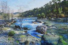 """Falls Off Blinn River Trail, Garner State Park"" is among works by David Caton on view at William Reaves 