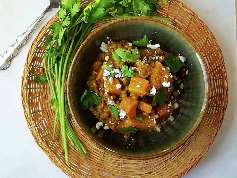 Spiced Butternut Squash and Lentil Stew is a great way to use the ever-useful and in-season butternut squash. (Deanna Fox)