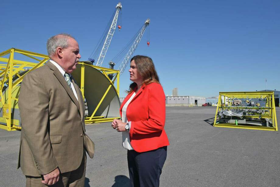 Richard Hendrick, general manager of The Port of Albany, and Georgette Steffens, chairperson of the Albany Port District, at the Port of Albany last year. (File photo) Photo: Michael P. Farrell / 40038108A