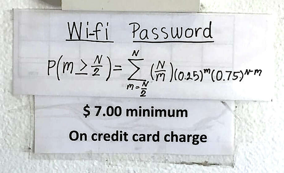 This complex mathematical equation to access the wi-fi at Yaya's Thai Cuisine on Callaghan Road in San Antonio has attracted attention on Yelp and many other internet portals. Owner Yaya Buck said one of her daughters posted the equation for fun two years ago. Photo: Posted By Yelp User C Y., Yelp/Yelp User C Y.