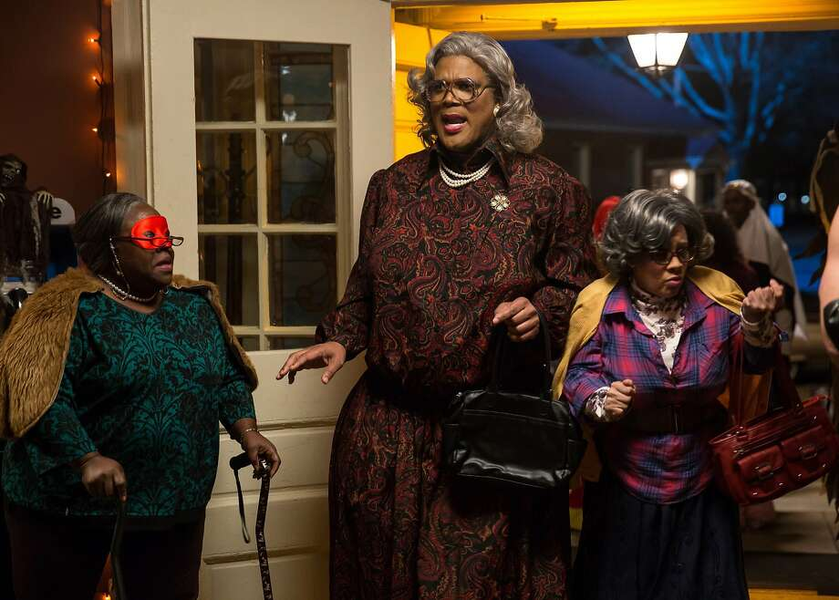 """Tyler Perry's Madea character (center, with Cassi Davis as Aunt Bam, left, and Patrice Lovely as Hattie, right) is enjoying one of her best box-office starts with """"Tyler Perry's Boo! A Madea Halloween."""" The comedy bested heavily promoted sequels from Tom Cruise (""""Jack Reacher: Never Go Back"""") and Ron Howard and Tom Hanks (""""Inferno"""") in its first two weeks at the box office. Photo credit: Eli Joshua. Photo courtesy Lionsgate Entertainment. Photo: Lionsgate"""