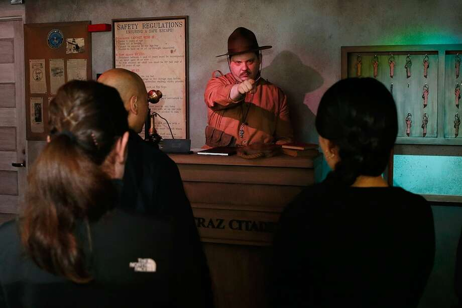 Sargent Gunter processes prisoners into Alcatraz at The San Francisco Dungeon's opening of the new 'Escape Alcatraz' drop ride and show on October 28, 2016 in San Francisco, California. (Photo by Lachlan Cunningham/Getty Images for The San Francisco Dungeon) Photo: Lachlan Cunningham/Getty Images For The San Francis