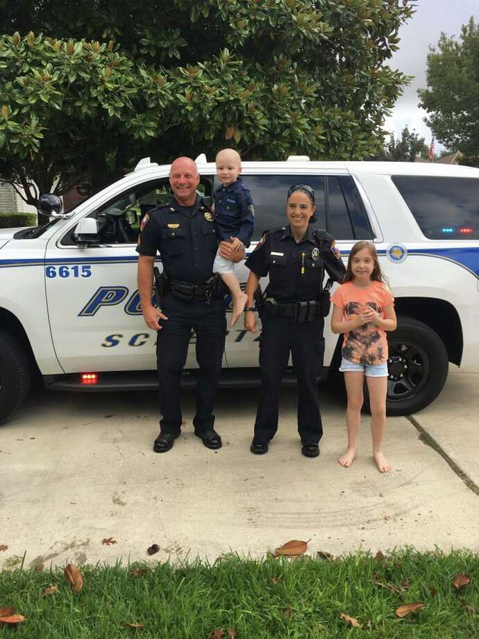 Schertz police performed a swearing-in ceremony for 3-year-old Eli Hoag, who is battling leukemia. Photo: Stephanie Hoag/Courtesy