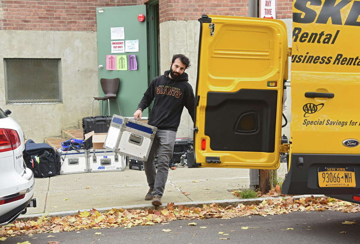 """Equipment is moved on the set of the movie """"The Pretenders"""" which is being filmed at Russell Sage College on Wednesday, Nov. 2, 2016 in Troy, N.Y. (Lori Van Buren / Times Union)"""