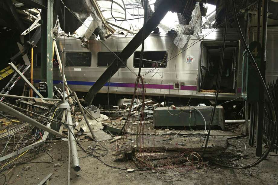 Damage done to the Hoboken Terminal in Hoboken, N.J., after a commuter train crash in September. Photo: Chris O'Neil / Associated Press / National Transportation Safety B