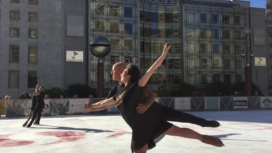 Ice skaters perform at the Union Square Ice Rink on opening day on Wednesday, Nov. 2, 2016. Photo: Video Capture/SFGATE