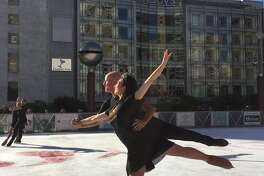 Ice skaters perform at the Union Square Ice Rink on opening day on Wednesday, Nov. 2, 2016.