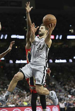 Nico Laprovittola breezes to the hoop as the Spurs host the Pelicans at the AT&T Center on October 29, 2016. Photo: Tom Reel, Staff / San Antonio Express-News / 2016 SAN ANTONIO EXPRESS-NEWS