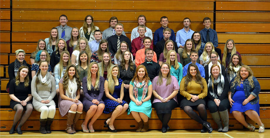 Pictured are the members of the Laker National Honor Society, including the new inductees. Front row, from the left, Aubrey Dickens, Megan McGeehee, Abi Schuette, Karoline Bushey, Chloe Rosa, Becky Dubs, Joy Bonke, Taylor Wisenbaugh, Ashley Baranski and Amanda Gettel; second row, Chelsey Katshor, Brittany Richmond, Kristyn Wurst, Katlin Kady, Tiffany White, Karly Cunningham, Grant Gascho, Heather Rooney, Andrew Davis, Greta Elston and Kaylee Wiese; third row, Sarah Hammond, Madison Krohn, Hope Harder, Clara Tait, Brianna Armbruster, Andrew Smith, Halee Robinson, Meleah Timmons, Cierra Shelter and Michelle Schulze; fourth row, Hannah Hammond, Halle Keim, Darrion Lehman, Nathan Pobanz, Matthew Angst, Matt Bowen and Brooklyn Fritz; and fifth row, Lance Gascho, Cheyanne Valentine, Justin Elliott, Seth Bowles, Jake Bushey, Aaron Maust and Colin Truemner. (Submitted Photo)