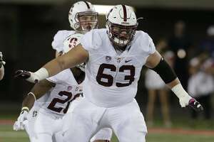 Stanford guard Nate Herbig (63) during the second half of an NCAA college football game against Arizona, Saturday, Oct. 29, 2016, in Tucson, Ariz. Stanford defeated Arizona 34-10. (AP Photo/Rick Scuteri)