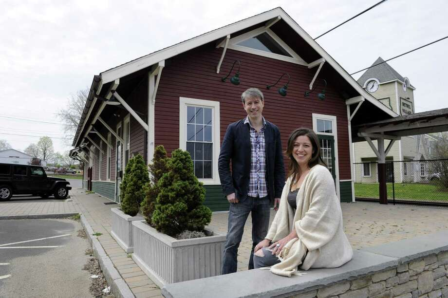 Christopher Sanzeni, 42, and Lisa Tassone, 43, are co-owners of a new brew pub that will open in the former Bethel train station. Photo Monday, April 25, 2016. Photo: Carol Kaliff / Hearst Connecticut Media / The News-Times
