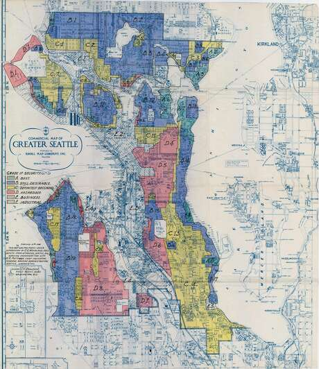 Printed in 1936, the Home Owners' Loan Corporation map for Seattle warned investors off of lending to high-minority neighborhoods while encouraging loans to white neighborhoods with racist covenants. Areas in blue and green were considered good investments, while yellow and red were presented as riskier. Check out the slideshow above for a look at what federal assessors said about some Seattle neighborhoods. Photo: Home Owners' Loan Corporation