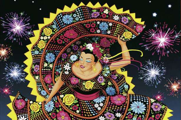 The official Fiesta 2017 poster is by artist Therese Spina. It features a larger than life dancer as the personification of the celebration.