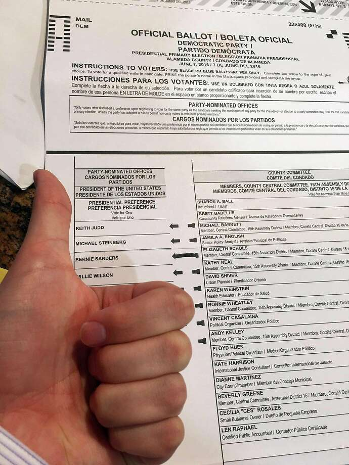 This June 7, 2016, photo provided by Taylor Huckaby, shows Huckaby's election ballot.  election ballot. Ballot selfies, where people use smartphones to photograph and share their marked ballots online, are becoming more common, as voters young and old look to share their views with family, friends and the world. But what they don't realize is they may be breaking the law, depending on where they live. (Taylor Huckaby via AP) Photo: Taylor Huckaby, Associated Press