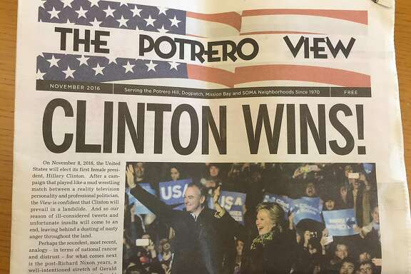 Local neighborhood newspaper Potrero View declares Hillary Clinton the winner days before the election.