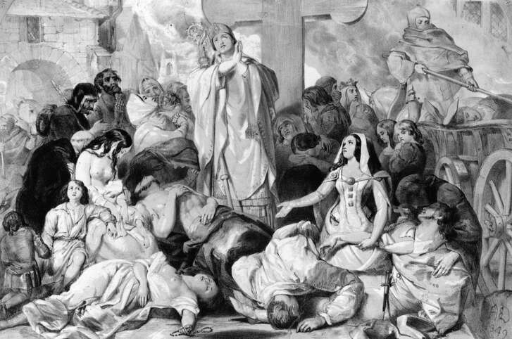 And the granddaddy of historic panic-driving diseases …  The bubonic plague : A summer outbreak, reported by The Guardian … A Chinese city was sealed off and 151 people placed in quarantine after a man died of bubonic plague, state media said.    The 30,000 residents of Yumen, in the north-western province of Gansu, are not being allowed to leave, and police at roadblocks on the perimeter of the city are telling motorists to find alternative routes, China Central Television (CCTV) said.    Bubonic plague is a bacterial infection best known for the Black Death, a virulent epidemic that killed tens of millions of people in 14th-century Europe. Primarily an animal illness, it is extremely rare in humans. The US Centerss for Disease Control and Prevention (CDC) says modern antibiotics are effective in treating plague, but that without prompt treatment the disease can cause serious illness or death.    Illustration: People praying for relief from the bubonic plague, circa 1350. Original Artwork: Designed by E Corbould, lithograph by F Howard.