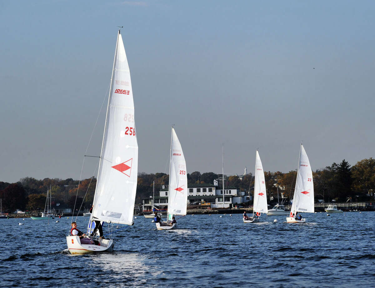 The Greenwich Country Day School sailing team practices in Long Island Sound out of the Indian Harbor Yacht Club, Greenwich, Conn., Wednesday, Nov. 2, 2016.