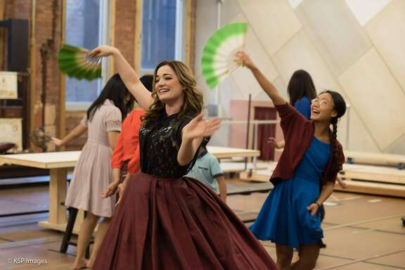 "Laura Michelle Kelly (Anna Leonowens) in rehearsal during media day for ""The King and I.""  Photo by Kevin Persaud"