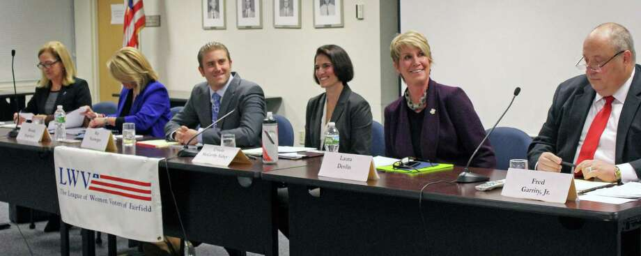 The candidates for the state Legislature participated in forum hosted by the League of Women Voters Wednesday. From left, Dru Georgiadis, state Rep. Brenda Kupchick, R-132, Ray Neuberger, state Rep. Cristin McCarthy Vaehy, D-133. state Rep. Laura Devlin, R-134, and Fred Garrity. Fairfield, CT. 10/27/16 Photo: Genevieve Reilly / Hearst Connecticut Media / Fairfield Citizen