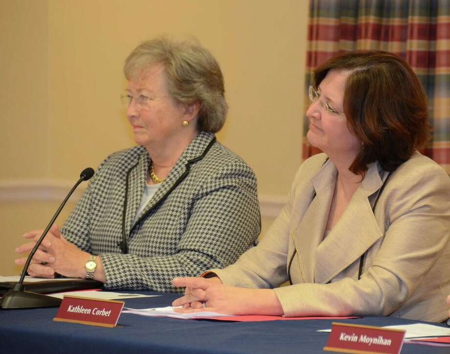 Penny Young and Kathleen Corbet, both of whom are members of the Town Council and Charter Revision Commission. Photo: Jeanna Petersen Shepard / Jeanna Petersen Shepard / New Canaan News Freelance