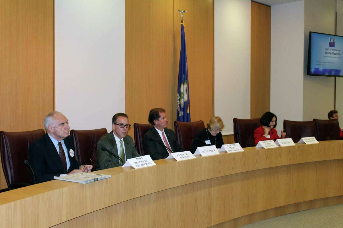 Candidates for state Senate, from left, John Blankley, Edward Hefflin, L. Scott Franz, Carolanne Curry and Toni Boucher, at a League of Women Voters Candidate Forum on Tuesday in New Canaan.