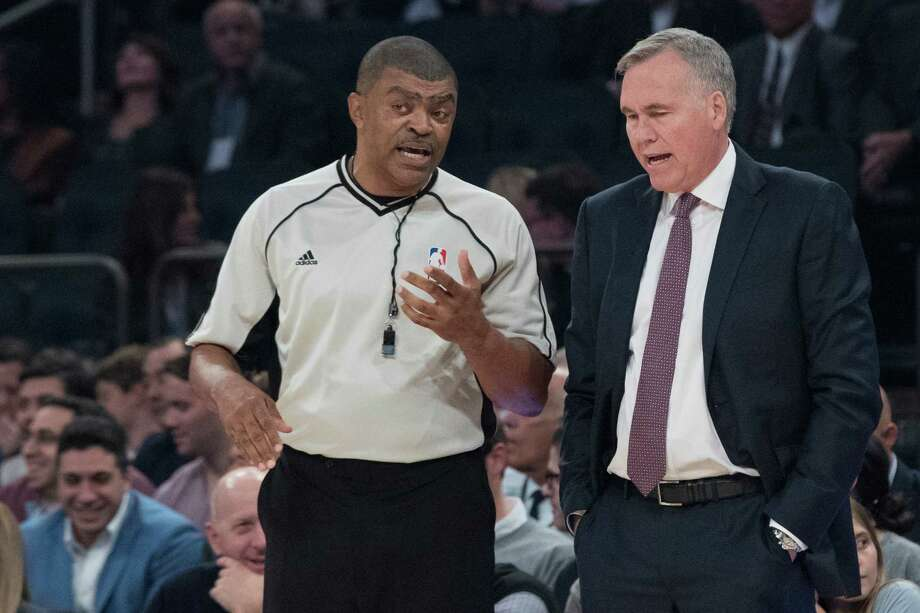 Houston Rockets coach Mike D'Antoni, right, argues with referee Tony Brothers during the first half of the team's NBA basketball game against the New York Knicks, Wednesday, Nov. 2, 2016, at Madison Square Garden in New York. The Rockets won 118-99. (AP Photo/Mary Altaffer) Photo: Mary Altaffer, Associated Press / Copyright 2016 The Associated Press. All rights reserved.