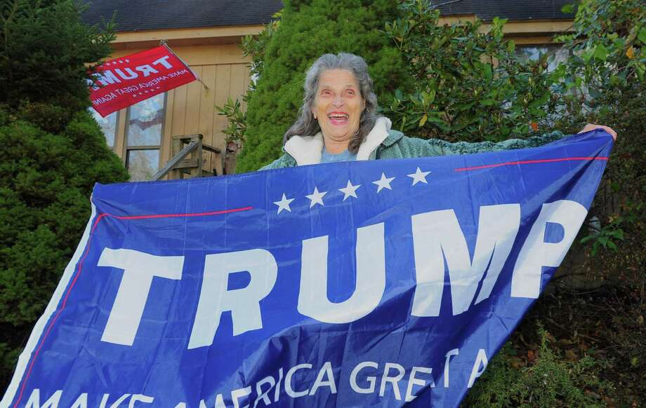 Rose Shaw, who supports Donald Trump for president, at her home in Oxford on Friday. Photo: Christian Abraham / Hearst Connecticut Media / Connecticut Post