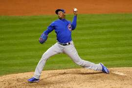 CLEVELAND, OH - NOVEMBER 02:  Aroldis Chapman #54 of the Chicago Cubs throws a pitch during the eighth inning against the Cleveland Indians in Game Seven of the 2016 World Series at Progressive Field on November 2, 2016 in Cleveland, Ohio.  (Photo by Jamie Squire/Getty Images)