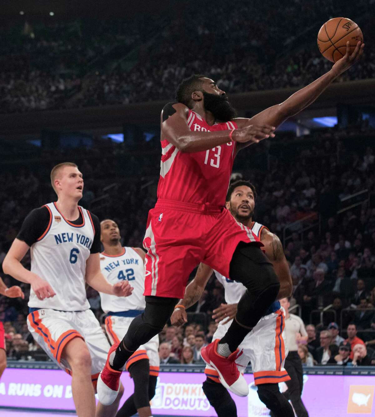 Rockets guard James Harden scored 30 points and had 15 assists Wednesday night.