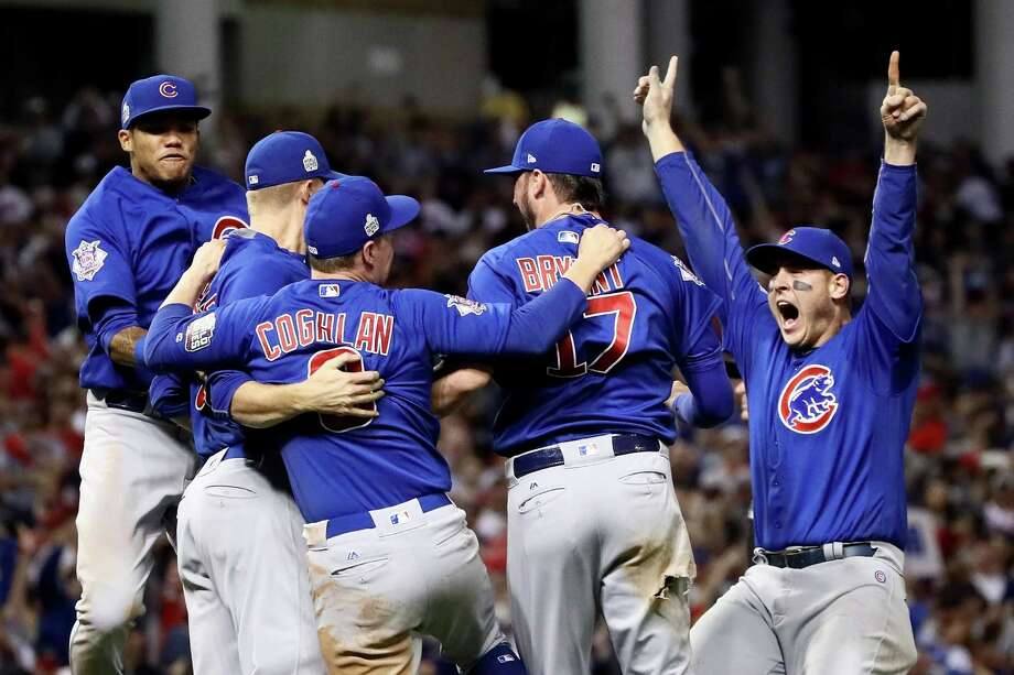 CLEVELAND, OH - NOVEMBER 02:  The Chicago Cubs celebrate after winning 8-7 against the Cleveland Indians in Game Seven of the 2016 World Series at Progressive Field on November 2, 2016 in Cleveland, Ohio. The Cubs win their first World Series in 108 years. Photo: Ezra Shaw, Getty Images / 2016 Getty Images