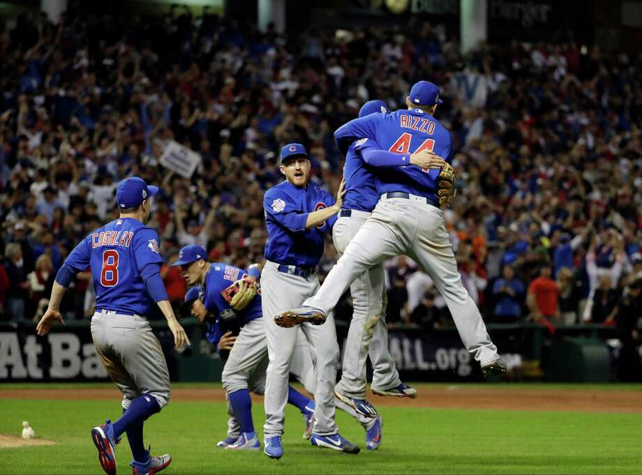 The Chicago Cubs celebrate after Game 7 of the Major League Baseball World Series against the Cleveland Indians Thursday, Nov. 3, 2016, in Cleveland. The Cubs won 8-7 in 10 innings to win the series 4-3. (AP Photo/David J. Phillip) Photo: David J. Phillip, Associated Press / Copyright 2016 The Associated Press. All rights reserved.