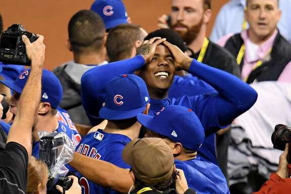 CLEVELAND, OH - NOVEMBER 02:  Aroldis Chapman #54 of the Chicago Cubs celebrates after defeating the Cleveland Indians 8-7 in Game Seven of the 2016 World Series at Progressive Field on November 2, 2016 in Cleveland, Ohio. The Cubs win their first World Series in 108 years.  (Photo by Jason Miller/Getty Images)