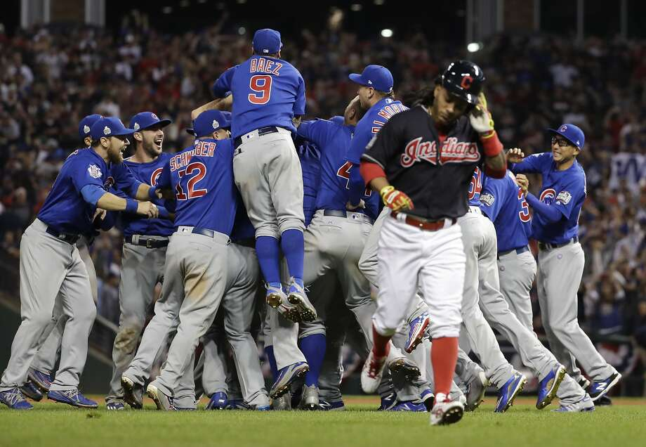 Chicago Cubs celebrate after Game 7 of the Major League Baseball World Series against the Cleveland Indians Thursday, Nov. 3, 2016, in Cleveland. The Cubs won 8-7 in 10 innings to win the series 4-3. (AP Photo/Matt Slocum) Photo: Matt Slocum, Associated Press